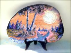 Painted rock landscape original art hand painted home by GnarlyArt