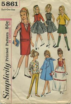 "Vintage Barbie™ Doll Clothes Sewing Pattern | Wardrobe for 9"" Little Girl Dolls such as Skipper and ""Lil Sister"" 