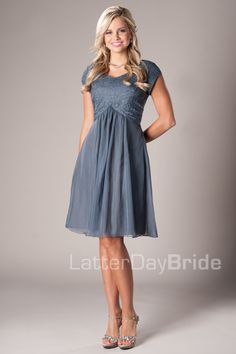 Carissa Modest Mormon LDS Bridesmaid Dress. This is so cute. I like the weave.