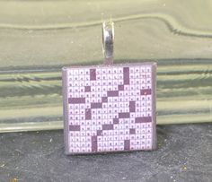 CROSSWORD PUZZLE Glass Tile Pendant 3/4 Square by ChezChani