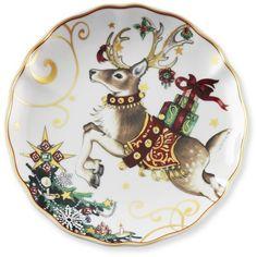 T\u0027was The Night Before Christmas Salad Plates Set of 4 Reindeer (  sc 1 st  Pinterest & Set of 4 Ceramic Mud Pie Christmas Reindeer Small Appetizer Plates 6 ...