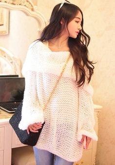 White Plian Hollow-out Off Shoulder Boat Neck Long Sleeve Loose Casual Knit Sweater - Pullovers - Sweaters - Tops