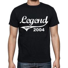 #tshirt #birthday #legend Don't know what to buy for someone's birthday? Pick the best present here! --> https://www.teeshirtee.com/collections/birthday-t-shirts-black-1/products/birthday-gifts-for-him-2004-t-shirts-men-vintage-black-t-shirt-rounded-neck-mens-t-shirt