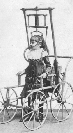 Early wheelchairs-Dr Clark's Spinal Apparatus was advertised in 1878 as allowing people with spinal issues to walk for a few minutes - or even hours - a day. In actuality, the wooden frame on this terrifying device was so heavy that a medically fit person could barely move an inch, let alone those with spinal issues.