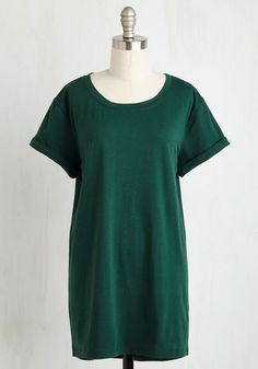 Simplicity on a Saturday Tunic in Forest Green - Green, Solid, Minimal, Short Sleeves, Fall, Knit, Good, Variation, Crew, Long