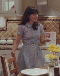 Zooey Deschanel's Blue peter pan dress from the IKEA scene in 500 Days of Summer.  Outfit Details: http://wwzdw.com/z/1700/ #WWZDW