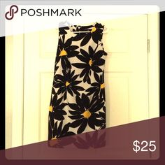 Black, white, & yellow fitted dress Perfect wedding guest dress! Worn once. Pretty dress with flower design. Invisible zipper in back of dress. Size 10P Dresses Mini