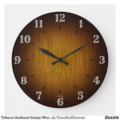 Tobacco Sunburst Grainy Wood Look Clock