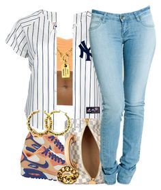 """"""":)"""" by livelifefreelyy ❤ liked on Polyvore featuring NIKE, ONLY, Chanel, Louis Vuitton, Dr. Denim and Fergie"""