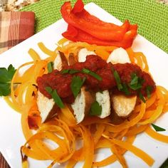 Butternut Squash Noodles with Chicken and Roasted Red Peppers and Fresh Parsley