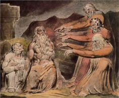 Illustration to Book of Job by English artist William Blake (1757-1827). Illustrations of the Book of Job are a series of twenty-two engraved prints by Blake published in 1826.