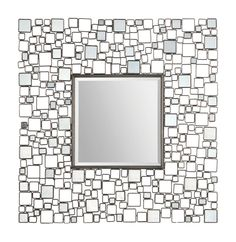 The Opie Mirror has a center square beveled mirror surrounded by small polished mirrors embedded in a geometrically designed metal frame. Dimensions: 46 x 46""