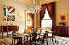The Obamas have created a lovely dining room and put a very modern stamp on this traditional home. The painting on the left is by pop-art painter Robert Rauschenberg and is only the fourth piece of contemporary artwork to join the White House collection. The painting on the right is by African-American Expressionist painter Alma Thomas, the first African-American woman to have her work hung in the White House. Photo: whitehousemuseum.org