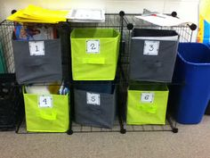 Math Centers...the cheapest way. Wire boxes $20.00 plus dollar spot for the drawers.