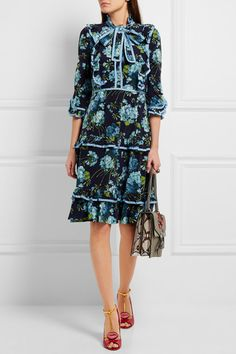 Gucci ruffled floral print silk crepe de chine dress