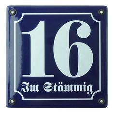 Emaille Hausnummer mit Straßenname 14,8x14,8 cm blau/weiß