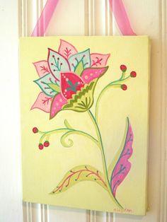 "girl kid room decor..baby nursery wall art..original canvas painting..hand painted artwork..11 x 14 floral scrolls berries ""summer flower"". $40.00, via Etsy."