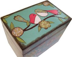 Recipe Box    MADE To ORDER  Decoupaged 4x6  LARGE Wood Box Crafted by Hand Owl Box #EasyPin