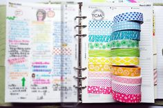 ✦Filofax Page Layout & Washi Tape Rainbow.
