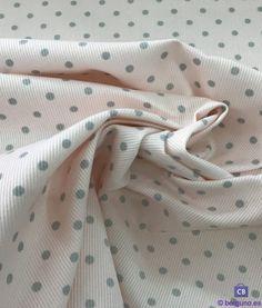 Tela de Piqué de Canutillo Rosa Pastel y Lunar Gris