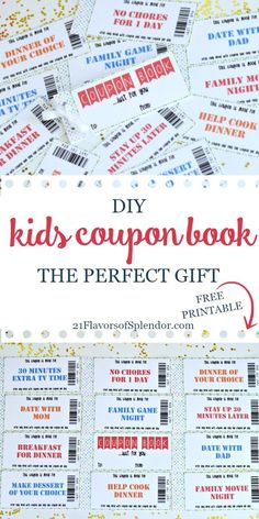 Free printable kids coupon book is great for handing out to your kids to give them a special treat on Valentine's Day, Christmas, birthday, or just because #gifts #kids #diygifts #printables Printable Vouchers, Free Printable Coupons, Free Printables, Christmas Gifts For Kids, Christmas Birthday, Birthday Coupons, Kids Rewards, Gift Coupons, 21st Gifts