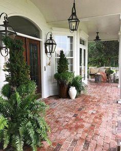 30 Wonderful Spring Garden Ideas Curb Appeal Planting one tree isn't a hu Porch Kits, Porch Ideas, Patio Ideas, Roof Ideas, Building A Porch, Brick Patios, Brick Porch, Porch Stairs, Brick Walkway
