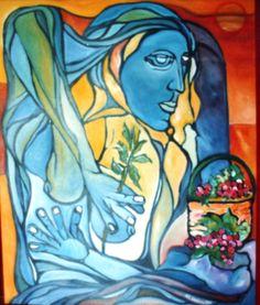 """Figura di pace """"1986 olio su tela cm. 120x100"""""""
