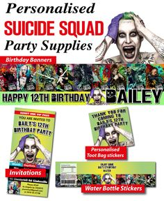Personalised Suicide Squad Birthday Party Banner Decorations