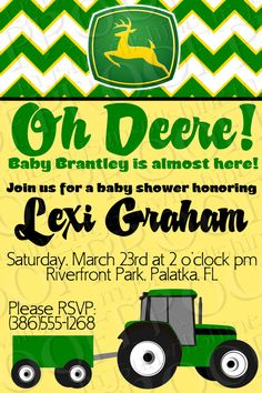 John Deere Baby Shower Invitation-would be good for birthday invite, too