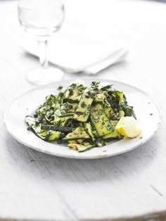 Griddled courgette salad with anchovies and capers