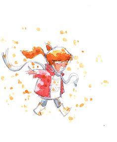 Foglie croccanti by IreneMontano on DeviantArt #childhood #childrenillustration #crisp #littlegirl #leafleaves
