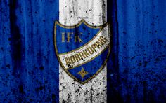 Download wallpapers 4k, FC Norrkoeping, grunge, Allsvenskan, soccer, art, football club, Sweden, Norrkoeping, logo, stone texture, Norrkoeping FC