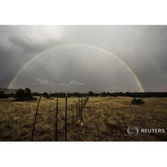 A rainbow forms after a passing rain shower near Grants, New Mexico, October 5, 2015.  REUTERS/Lucas Jackson #rainbow #sky #weather #newmexico #rain