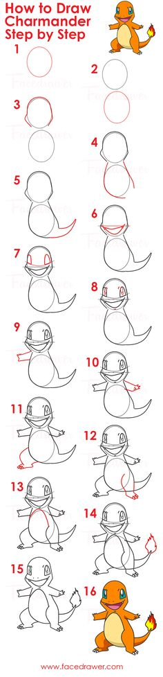 Easy Charmander Drawing Lesson. Learn how to draw Charmander from Pokemon step by step. Just follow along the 16 easy steps to learn how to draw Charmander.