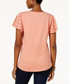 Style & Co Studded Flutter-Sleeve T-Shirt, Created for Macy's - White XXL
