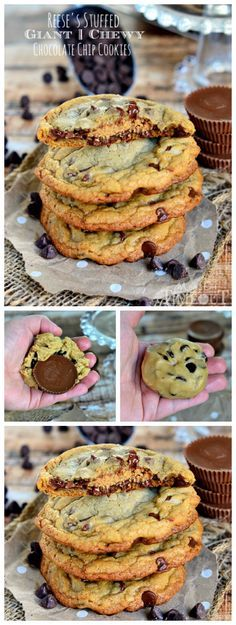 Chocolate and peanut butter lovers unite! You are going to LOVE these Reese's Stuffed Giant Chewy Chocolate Chip Cookies! I took my very favorite chocolate chip cookie recipe and stuffed a Reese's Peanut Butter Cup inside Köstliche Desserts, Delicious Desserts, Dessert Recipes, Yummy Food, Delicious Chocolate, Baking Recipes, Cookie Recipes, Chewy Chocolate Chip Cookies, Giant Chocolate