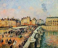 Camille Pissarro - Afternoon Sunshine, Pont Neuf Oil on canvas . ***One of the many views of Pont Neuf painted by Pissarro as he saw it from. Camille Pissarro, Claude Monet, Canvas Art Prints, Oil On Canvas, Pont Paris, Philadelphia Museum Of Art, Philadelphia Pa, Le Havre, Oil Painting Reproductions