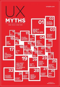 We have a beautiful collection of typographical posters that represent each and every misconception from UX Myths. by Michele Gotuzzo
