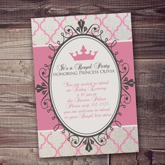 Princess Invitation Royal Party Gold Elegant with FREE wording