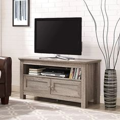 Walker Edison Driftwood 44 in. TV Stand Storage Console