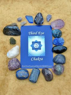 THIRD EYE CHAKRA CRYSTALS (listed clockwise starting with the upper right hand corner): Amethyst, Apatite, Azurite, Covellite, Dumortierite, Fluorite, Iolite, Kyanite, Lapis Lazuli, Lepidolite, Rainbow Moonstone, Moldavite, Pietersite, Sapphire, Blue Siberian Quartz, Sodalite, Tanzanite.  This is by no means all of the Third Eye chakra crystals, but these are among some of my favorites. Which are your favorite crystals to use for balancing your Third Eye chakra?