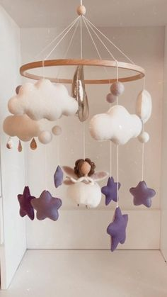 Wonderful fairy mobile in purple color. Great gift on baby shower to little baby girl Baby Shower Cupcakes For Girls, Baby Girl Shower Themes, Girl Baby Shower Decorations, Girl Decor, Baby Room Diy, Baby Room Decor, Nursery Decor, Fairy Nursery, Diy Bebe
