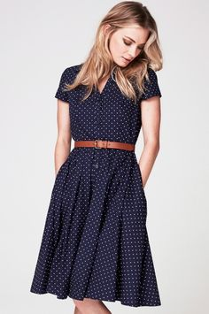 Navy polka dot dress.