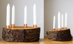 Adventskranz aus Kirschholz mit Kupfer - Baumarkt-Design | Advent wreath made of wood with copper fittings | Moritzwerk