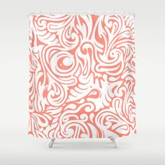 Organics in Coral Shower Curtain by House of Jennifer - $68.00