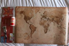 DIY Modge Podge Canvas Map