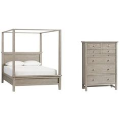 Pottery Barn Farmhouse Canopy Bed & Tallboy Dresser Set ($3,095) ❤ liked on Polyvore featuring home, furniture, beds, queen canopy bed, king size bed, canopy beds, king canopy bed frame and queen canopy bed frame