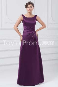 Bridesmaid Dresses A-Line Bateau Sleeveless Natural Zipper Floor-Length Satin Pleats