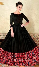 Black Color Shaded Satin Long Anarkali Suit #anarkalifromhicksvileny #anarkalifrocks Specialize your trendy event with this black color shaded satin long Anarkali suit. The beautiful lace, resham and stones work a significant attribute of this attire. USD $ 94 (Around £ 65 & Euro 71)