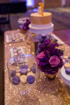 Calgary, Alberta | Evelyn Clark Weddings wedding design & coordination | The Westin wedding | Photo: Dana Cole Photography | Gatsby wedding | Black & white wedding | Gold & purple wedding | Wedding macarons table